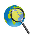 Magnifying glass and earth. Black magnifying glass and green and blue earth isolated over white background. vector vector illustration