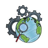 Magnifying glass on earth and gears scribble. Magnifying glass on earth and gears vector illustration graphic design stock illustration