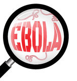 Magnifying glass with Ebola virus Stock Photography