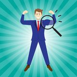 Magnifying Glass Enlarges Arm Of Businessman Royalty Free Stock Image