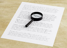 Magnifying glass enlarging the word Happiness on a page with pri Royalty Free Stock Photo