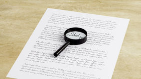 Magnifying glass enlarging the word School on a page with printe Royalty Free Stock Image