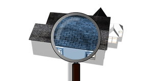 Magnifying glass examining a house. Architecture and home ownership Stock Image
