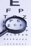 Magnifying glass and eye test Stock Image