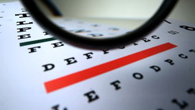 Magnifying glass falling on an eye test Stock Image
