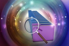 Magnifying glass with file folder. In color background Royalty Free Stock Photo