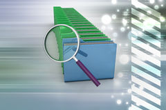 Magnifying glass with file folder. In color background Royalty Free Stock Image