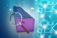 Magnifying glass with file folder. In color background Stock Image