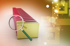 Magnifying glass with file folder. In color background Royalty Free Stock Photography