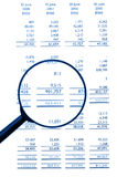 Magnifying Glass On Financial Balance Sheet Royalty Free Stock Images