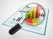 Magnifying glass and financial data. 3d high quality rendering Royalty Free Stock Photo