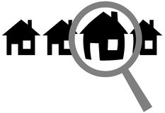 Magnifying Glass Find Website Home Inspect House. A magnifying glass finds, selects or inspects a home in a row of houses: search & choose website, or house for Stock Images