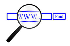 Magnifying glass finding web Royalty Free Stock Photos