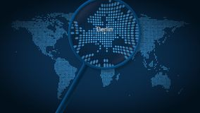 Magnifying glass searches and finds the city of Berlin on dotted world map. 3D rendering royalty free stock images