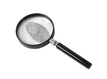 Magnifying glass and fingerprint Royalty Free Stock Image