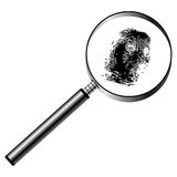 Magnifying glass and fingerprint. Magnifying glass with fingerprint isolated over white background Royalty Free Stock Photography