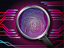 Magnifying glass on fingerprint with concept red abstract technology background. Illustration of Magnifying glass on fingerprint with concept red abstract Stock Image