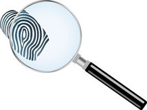 Magnifying glass, fingerprint, detective, logo. Magnifying glass and fingerprint, detective logo Stock Photo