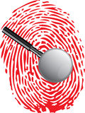 Magnifying glass and fingerprint marks. Royalty Free Stock Photography