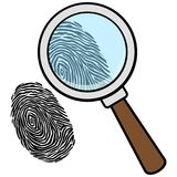 Magnifying Glass with Fingerprint. A vector illustration of a Magnifying Glass with Fingerprint Royalty Free Stock Photography