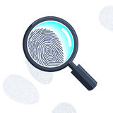 Magnifying glass with fingerprint. Vector magnifying glass with fingerprint isolated on the white Royalty Free Stock Image
