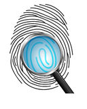 Magnifying glass on Fingerprint  on white background. Illustration of Magnifying glass on Fingerprint  on white background Stock Photography
