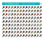 Magnifying Glass Flag Icons. All Country Flags Part 1 Royalty Free Stock Images