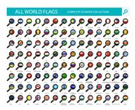 Magnifying Glass Flag Icons. All Country Flags Part 2 Royalty Free Stock Photography