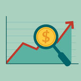 Magnifying glass focus money on raising charts. Royalty Free Stock Images