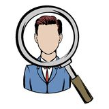 Magnifying glass focused on a person icon cartoon. Magnifying glass focused on a person icon in cartoon style isolated vector illustration Royalty Free Stock Images