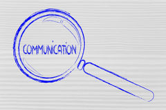 Magnifying glass focusing on communication Stock Images