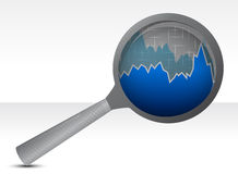 Magnifying glass focusing on a graph Royalty Free Stock Image