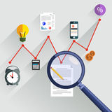 Magnifying glass focusing on point. Growth chart with magnifying glass focusing on point. Infographic steps banners. Representing success and financial growth Royalty Free Stock Images