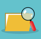 Magnifying glass with folder isolated icon. Illustration design Royalty Free Stock Photo
