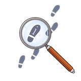 Magnifying glass and footprints Stock Photography