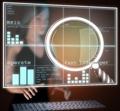 Magnifying Glass on futuristic  hologram Royalty Free Stock Images