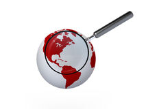 Magnifying Glass and Globe Stock Photos