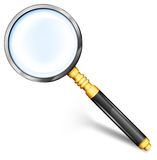 Magnifying glass gold. Magnifying gold glass for detailed image with black handle,  illustration Stock Photo