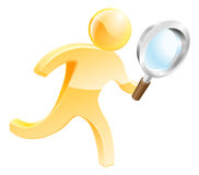 Magnifying glass gold person. Character looking for something, examining or perhaps a spy or detective of some sort Stock Photos