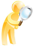 Magnifying glass gold person. An illustration of a gold man looking down through a magnifying glass Royalty Free Stock Photography