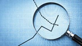Magnifying glass on graph Royalty Free Stock Photo