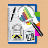 Magnifying glass with graph and padlock on notebook,creative bus Royalty Free Stock Images