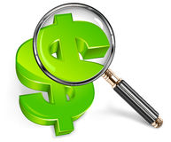 Magnifying glass & green dollar Stock Photos