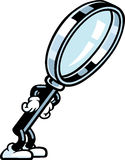 Magnifying Glass Guy. A magnifying glass character is looking at something Royalty Free Stock Photos