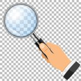 Magnifying Glass in Hand. 3D Realistic Magnifying Glass Loupe in Hand on transparent background. isolated vector illustration Royalty Free Stock Photography