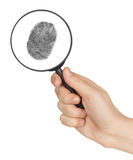 Magnifying glass in hand and fingerprint Royalty Free Stock Image
