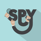 Magnifying Glass In Hand With Spy Typography Design Royalty Free Stock Image