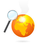 Magnifying glass heating earth. Illustration of a magnifying glass while heating the earth globe by sun heat, environment concept Royalty Free Stock Image