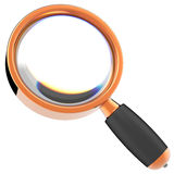 Magnifying glass (Hi-Res). Shiny orange Magnifying glass with black part. 3D render. Isolated on white Royalty Free Stock Images