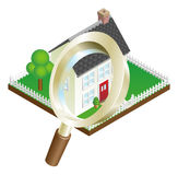 Magnifying glass house search concept Stock Photo